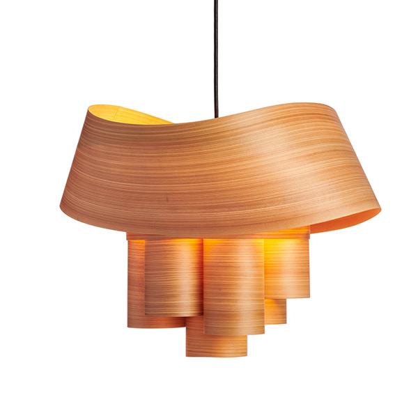 PIERPONT cypress wood veneer chandelier