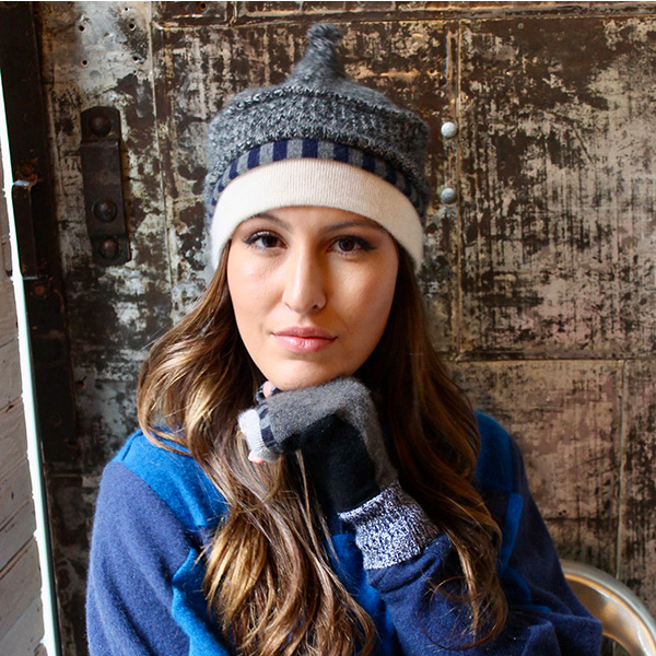 Onion Hat, fingerless mittens and Butterfly Sweater - Recycled Cashmere