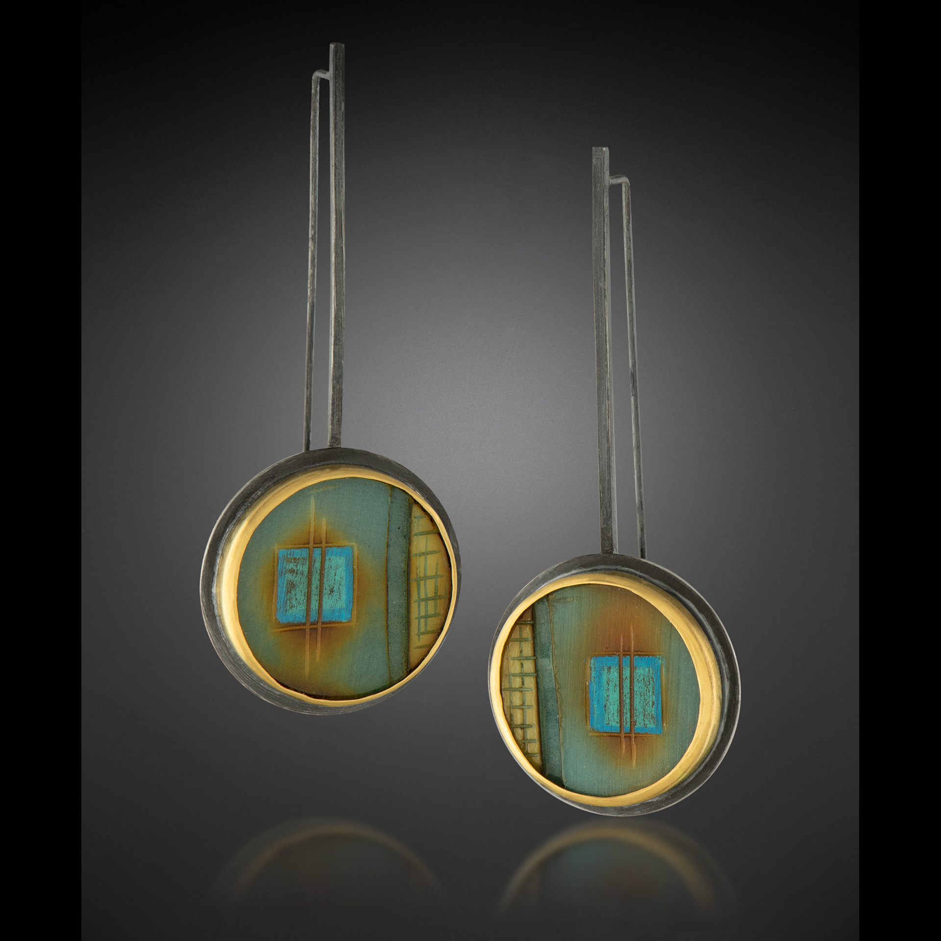 Tagua Earrings w/ 22k bezels