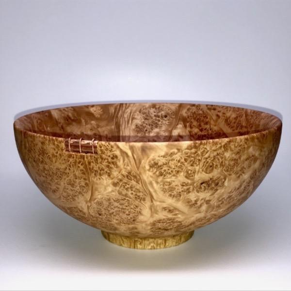 Maple Burl Bowl with Copper Details