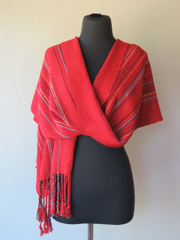 Turquoise, black & gold on red shawl