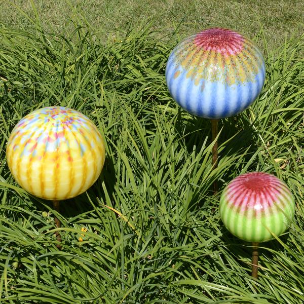 Blown Glass Garden Sculpture Trio