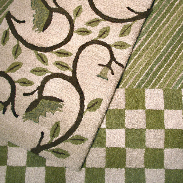 Vine, Stripe and Green Blossom